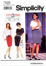 Simplicity 7928 Skirt and Top Size 6 - 16 - Bust 30 1/2 - 38