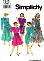 Simplicity 7945 Sewing Pattern Full or Slim Skirt Dress Sash Size 6 - 12