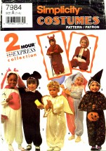 Simplicity 7984 Toddlers Costumes Santa Bunny Angel Jester
