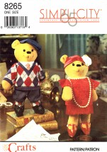 Simplicity 8265 Crafts Sewing Pattern Decorative Bear & Clothes