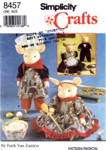 Simplicity 8457 Crafts Sewing Pattern Pigs & Clothes