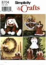 Simplicity 8704 Angel Tree Topper Ornaments Sitting Bunny Wreath
