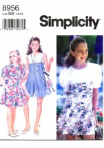 Simplicity 8956 Sewing Pattern Girls Dress Culotte Dress Bag Size 12 - 14