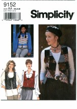 Simplicity 9152 Set of Vests Size 6 - 16 - Bust 30 1/2 - 38