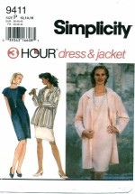 Simplicity 9411 3 Hour Dress & Jacket Size 12 - 16 - Bust 34 - 38