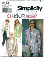 Simplicity 9443 Button Front Jacket Size 6 - 12 - Bust 30 1/2 - 34