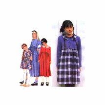 1990s Girls Full Skirt Dress Simplicity 9731 Sewing Pattern 7 - 8 - 10