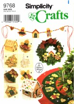 Simplicity 9768 Pattern Elaine Heigl No Sew Tree Topper Tree Skirt Wreath Swag House Church