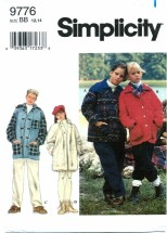 Simplicity 9776 Girls & Boys Set of Lined Jackets Size 12 - 14