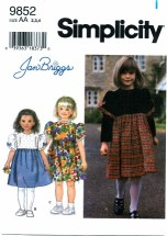 Simplicity 9852 JAN BRIGGS Girls Dress Size 2 - 4