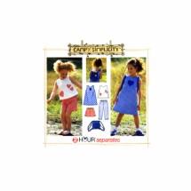 Girls Dress Top Capri Pants Shorts Bag Simplicity 7150 Sewing Pattern Size 5 - 6 - 6X