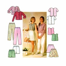 Girls Knit Tops Skirt Pants Shorts Simplicity 7228 Sewing Pattern Size 12 - 14