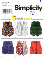 Simplicity 7357 Girls Vests Sewing Pattern Size 3 - 4 - 5 - 6