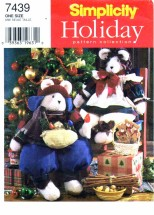 Simplicity 7439 Sitting Bears with Clothes Holiday Crafts Sewing Pattern