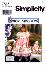 Simplicity 7545 Sewing Pattern Daisy Kingdom Girls Dress Doll Hat