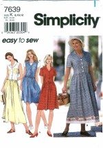 Simplicity 7639 Full Skirt Dress Size 8 - 12 - Bust 31 1/2 - 34