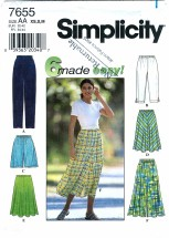 Simplicity 7655 Sewing Pattern Misses Pants Shorts Skirt Size 6 - 16 Waist 23 - 30