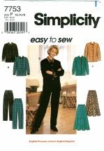 Simplicity 7753 Top Skirt Pants Size 12 - 16 - Bust 34 - 38