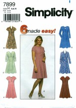 Simplicity 7899 Flared Dress Size 6 - 10 - Bust 30 1/2 - 32 1/2