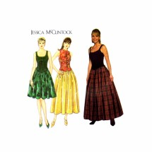 Jessica McClintock Princess Seam Top Full Skirt Simplicity 7935 Sewing Pattern Size 6 - 8 - 10