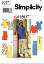 Simplicity 8087 Top Skirt Pants Size 8 - 12 - Bust 31 1/2 - 34