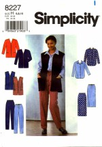 Simplicity 8227 Jacket Vest Shirt Skirt Pants Size 6 - 10 - Bust 30 1/2 - 32 1/2
