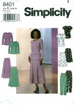 Misses Top Skirt Pants Simplicity 8401 Sewing Pattern Size 8 - 10 - 12 Bust 31 1/2 - 32 1/2 - 34