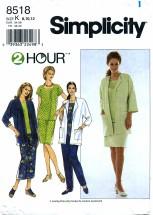 Simplicity 8518 Jacket Top Skirt Pants Size 8 - 12 - Bust 31 1/2 - 34