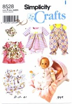 Simplicity 8528 Wardrobe for Baby Dolls Clothing