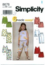 Simplicity 8676 Girls Top Pants Shorts Size 5 - 6X
