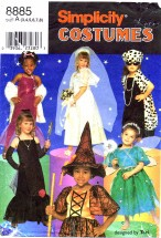 Simplicity 8885 Girls Costumes Dress Up Witch Fairy Movie Star