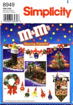 Simplicity 8949 Sewing Pattern M & M's Holiday Christmas Tree Card Holder Garland Wreath Treeskirt Stocking Pillows