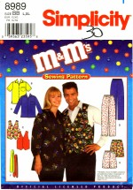 M&M's Shirt Vest Pants Shorts Tie Bust / Chest 42 - 48 Simplicity 8989 Sewing Pattern