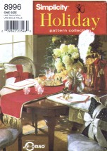 Simplicity 8996 Holiday Sewing Pattern Christmas Table Runner Place Mat Bottle Goodie Bag Pillows