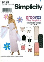 Simplicity 9129 Juniors Skirt & Knit Top Size 11/12 - 15/16