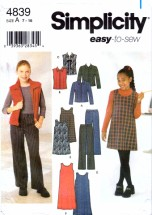 Simplicity 4839 Sewing Pattern Girls Jacket Vest Boot Leg Pants Jumper Size 7 - 16