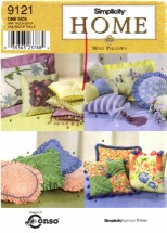 Simplicity 9121 Sewing Pattern Home Decor Mini Pillows Square Round