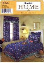 Simplicity 9254 Bedding Accessories for Twin and Full Size Beds