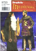 Simplicity 9753 Sewing Pattern Mens Medieval King Arthur Merlin Costume Chest 32 - 40