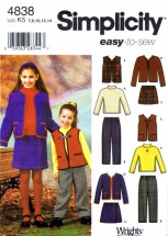 Simplicity 4838 Sewing Pattern Girls Pants Skirt Jacket Vest Knit Top Size 7 - 14