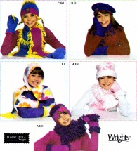 Simplicity 4847 Girls Fleece Hats Scarves Mittens Sewing Pattern