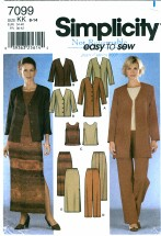 Simplicity 7099 Jacket Top Pants Skirt Size 8 - 14 - Bust 31 1/2 - 36