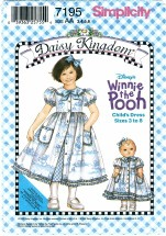 Simplicity 7195 Sewing Pattern Daisy Kingdom Girls Winnie The Pooh Dress Slip Doll Clothes Size 3 - 6