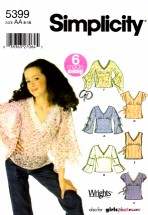 Simplicity 5399 Girls Pullover Tops Sleeve Trim Variations Size 8 - 16