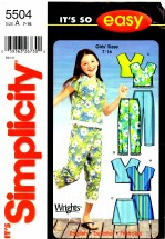 Simplicity 5504 Sewing Pattern Girls Top Capri Pants Skirt Size 7 - 16