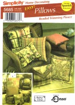 Simplicity 5685 Sewing Pattern  Home Decorating Bead Trimmed Pillows