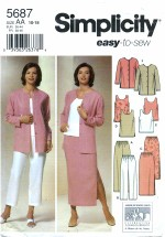 Simplicity 5687 Pants Skirt Tunic Top Jacket Size 10 - 18 - Bust 32 1/2 - 40