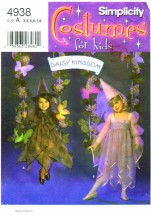 Simplicity 4938 Daisy Kingdom Girls Witch Princess Costumes Size 3 - 4 - 5 - 6 - 7 - 8