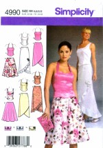 Simplicity 4990 Sewing Pattern Womens Evening Tops Skirts Purse Size 6 - 8 - 10 - 12