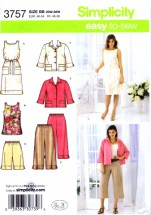 Simplicity 3757 Sewing Pattern Cropped Pants Short Dress Tunic Belt Jacket Full Figure Size 20 - 22 - 24 - 26 - 28